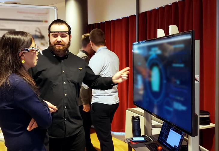 Demonstrating next-gen devices at the GN headquarters in Ballerup, Denmark