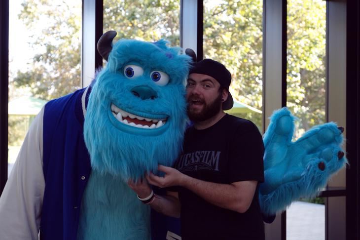 Stroking Sulley's beard